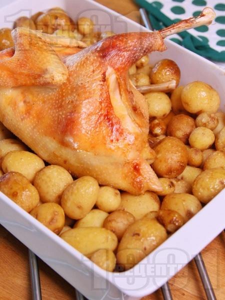 Печена домашна кокошка с пресни картофи на фурна - снимка на рецептата